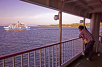 Ferryboats on the Inland Sea or Seto Naikai -  The Inland Sea is the body of water separating Honshu Shikoku, and Kyushu, the 3 main islands of Japan.  Almost 3000 islands are located in the Inland Sea, including the larger islands of Awajishima and Shodoshima.