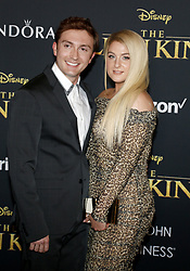 Daryl Sabara and Meghan Trainor at the World premiere of 'The Lion King' held at the Dolby Theatre in Hollywood, USA on July 9, 2019.