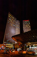 Azrieli City Center and the Crowne Plaza Tel Aviv City Center Hotel, Tel Aviv, Israel.