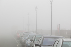 © London News Pictures. 14/03/2014. Thick fog covers the seafront in Burnham on Sea, Somerset. 14th March 2014. Photo credit: London News Pictures