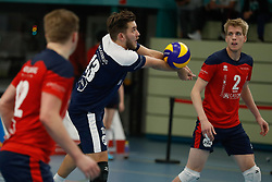20181124 NED: Volleyball Top League ZVH - VCV: Zevenhuizen<br />Mika Prins (13) of CAS CRM ZVH, Chris van Mullem (2) of CAS CRM ZVH<br />©2018-FotoHoogendoorn.nl / Pim Waslander