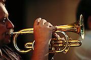 Beer garden trumpet player. Prague, Czech Republic.