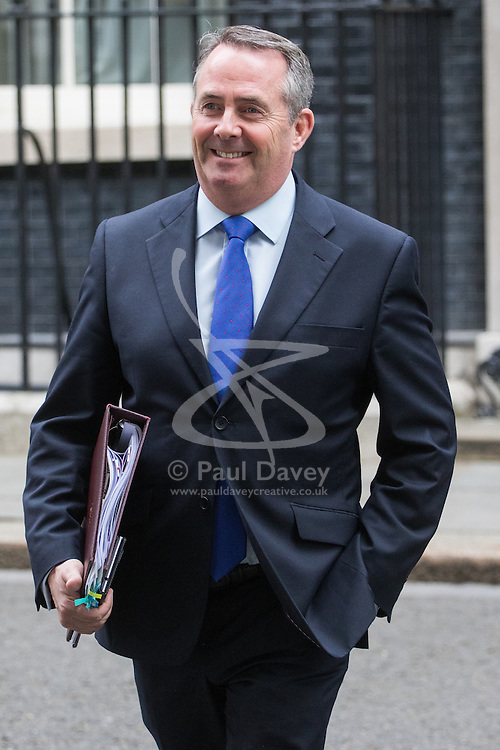 Downing Street, London, October 11th 2016. Government ministers leave the first post-conference cabinet meeting. PICTURED: International Trade Secretary Liam Fox