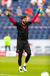 SALZBURG, AUSTRIA - Tuesday, August 25, 2020: Liverpool's goalkeeper Alisson Becker during the pre-match warm-up before a preseason friendly match between FC Red Bull Salzburg and Liverpool FC at the Red Bull Arena. (Pic by Propaganda)