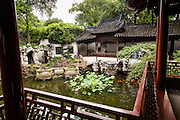 View of the pond from Yangshan Hall in Yu Yuan Gardens Shanghai, China