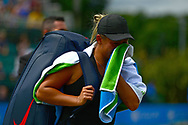 Tara Moore (GBR) exits the court in tears after she forfeits the match after suffering from an injury during her match against Johanna Konta (GBR). The Aegon Open Nottingham 2017, international tennis tournament at the Nottingham tennis centre in Nottingham, Notts , day 2 on Tuesday 13th June 2017.<br /> pic by Bradley Collyer, Andrew Orchard sports photography.