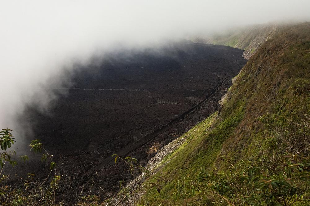 Sierra Negra Volcano Crater showing 2005 Volcanic lava flow. Isabela Island, GALAPAGOS ISLANDS<br /> ECUADOR.  South America