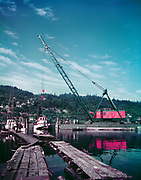 "ackroyd C00087-3 ""Floating Marine Ways. D. B. Yaquina, tug Go-Getter. Sause Bros. June 18, 1952"" 4x5"", see B&W 3668  (Also Nicholas Boat Works, MarCom, St. Johns)"