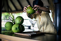 A bartender at the Six Senses Resort mixes a signature martini (Praow-Tini) out of a coconut shaker in Koh Samui, Thailand.