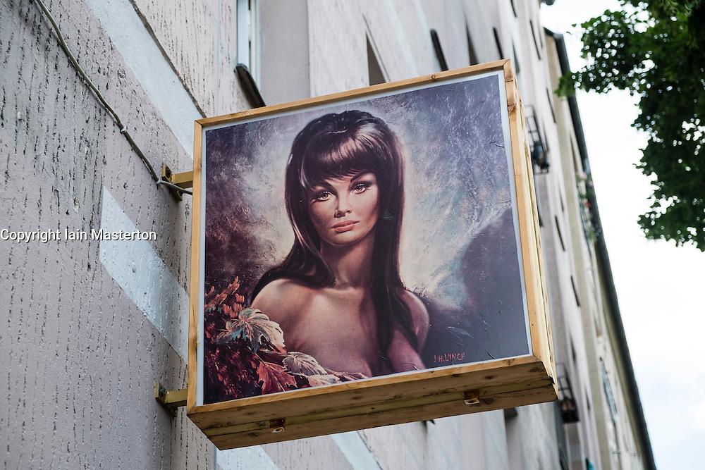Sign outside bar in Neukolln district in Berlin Germany