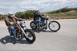 Eric Stein on his 1964 custom Harley-Davidson Panhead and Bo Hatzoge on a custom 1974 Shovelhead Eric also built as they ride their customs south of Flagler Beach on AIA during Daytona Beach Bike Week. FL. USA. Tuesday, March 14, 2017. Photography ©2017 Michael Lichter.