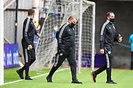 Manager of Celtic FC, Ange Postecoglou (centre) arrives at the ground before the Cinch SPFL Premiership match between Heart of Midlothian FC and Celtic FC at Tynecastle Park, Edinburgh, Scotland on 31 July 2021.