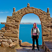 Arched gateway on the island of Taquile in Lake Titicaca, Peru.