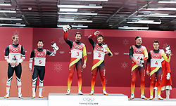 14.02.2018, Olympic Sliding Centre, Pyeongchang, KOR, PyeongChang 2018, Rodeln, Zweisitzer, Herren, im Bild v.l. Peter Penz und Georg Fischler (AUT, 2. Platz), Tobias Wendl und Tobias Arlt (GER, 1. Platz), Toni Eggert und Sascha Benecken (GER, 3. Platz) // f.l. silver medalist Peter Penz and Georg Fischler of Austria gold medalist and Olympic champion Tobias Wendl and Tobias Arlt of Germany bronce medalist Toni Eggert and Sascha Benecken of Germany during the mens doubles luge of the Pyeongchang 2018 Winter Olympic Games at the Olympic Sliding Centre in Pyeongchang, South Korea on 2018/02/14. EXPA Pictures © 2018, PhotoCredit: EXPA/ Johann Groder
