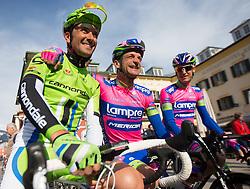 16.04.2013, Hauptplatz, Lienz, AUT, Giro del Trentino, Etappe 1, Lienz nach Lienz, im Bild Ivan Basso (Cannondale Pro Cycling), Michele Scarponi (Lampre-Merida) // during stage 1, Lienz to Lienz of the Giro del Trentino at the Hauptplatz, Lienz, Austria on 2013/04/16. EXPA Pictures © 2013, PhotoCredit: EXPA/ Johann Groder