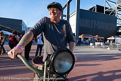 Motorcycle Cannonball Run organizer Jason Sims at the Harley-Davidson Museum, where the multi-acre campus acted as the central rally point during the Harley-Davidson 115th Anniversary Celebration event. Milwaukee, WI. USA. Saturday September 1, 2018. Photography ©2018 Michael Lichter.
