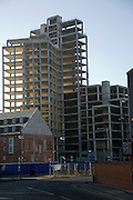 Unfinished since 2008 Credit Crunch concrete high rise building on the Waterside, Ipswich, England in 2012
