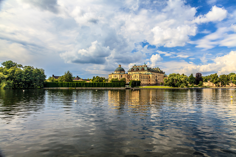The Drottningholm Palace in Sweden. While being the private permanent residence of the Swedish royal family, The Drottningholm Palace is partly open to visitors. The palace has an enchanting location on the Lake Mälar.