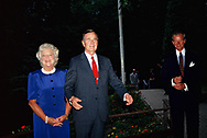 President H W Bush and First Lady Barbara Bush arrive at the American Embassy in Budapest, Hungary in July 1989<br /><br />Photograph by Dennos Brack  bb77