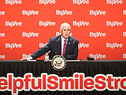 08 MAY 2020 - WEST DES MOINES, IOWA: Vice President MIKE PENCE talks about the security of the food supply chain at Hy-Vee corporate headquarters Friday. He visited Hy-Vee, a regional grocery store chain, to talk about the security of the food supply system. The Governor of Iowa started reopening businesses in the state even though coronavirus (SAR-CoV-2) infections are continuing to rise. President Trump signed an executive order on April 28 to compel meat packing plants to stay open as a part of critical infrastructure, but in Iowa many plants remain closed. The meat packing industry is the main source of COVID-19 infections in rural parts of Iowa. Iowa has recorded 11,457 cases of  COVID-19 and 243 deaths caused by virus.         PHOTO BY JACK KURTZ