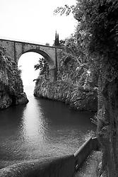 Furore a fjord on the Amalfi Coast of Italy.