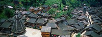 Chine. Province du Guizhou. Village Dong de Yingtan. Tour du Tambour. // China. Guizhou province. Dong village of Yingtan. Drum Tower.