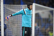 Goalkeeper Petr Cech of Chelsea stretching during pre-match training Barclays Premier league match, Chelsea v Southampton at Stamford Bridge in London on Sunday 15th March 2015.<br /> pic by John Patrick Fletcher, Andrew Orchard sports photography.