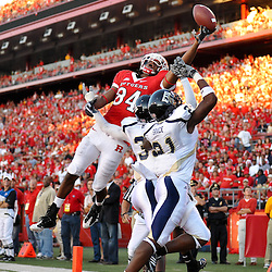 Sep 19, 2009; Piscataway, NJ, USA; Rutgers wide receiver Marcus Cooper (84) reaches for a pass, which fell incomplete, during the first half of NCAA college football between Rutgers and Florida International at Rutgers Stadium.