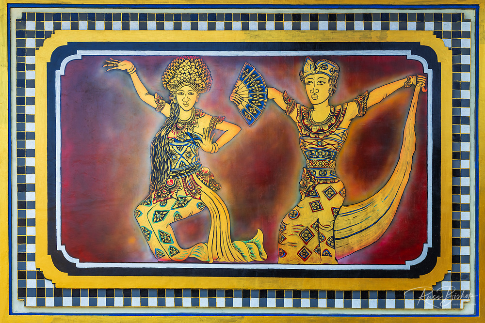 Painting of Balinese dancers at Tanah Lot Temple, Bali, Indonesia
