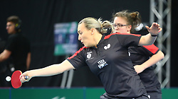 February 23, 2018 - London, England, United Kingdom - Kelly SIBLEY of England .during 2018 International Table Tennis Federation World Cup match between Tianwei FENG of Singapore  and  against Everton at Copper Box Arena, London  England on 23 Feb 2018. (Credit Image: © Kieran Galvin/NurPhoto via ZUMA Press)