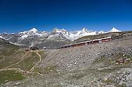 Alpine tourist train on the Gornergrat railway, Rotenboden station, nr Zermatt, Switzerland