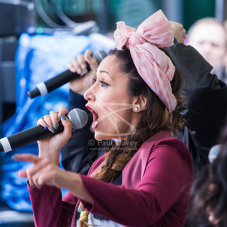 """City Hall, London, March 5th 2017. Stars join March4Women through London. Mayor of London Sadiq Khan and suffragette descendents prepare to march and """"sing for a fairer world ahead of International Women's Day"""". Attended by Annie Lennox, Emeli Sande, Helen Pankhurst, Bianca Jagger and with musical performances from Emeli Sande, Melanie C and more. PICTURED: Preeya Kalidas"""
