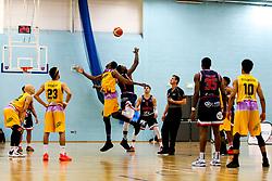 Daniel Edozie of Bristol Flyers wins the ball at tip off - Photo mandatory by-line: Robbie Stephenson/JMP - 10/04/2019 - BASKETBALL - UEL Sports Dock - London, England - London Lions v Bristol Flyers - British Basketball League Championship