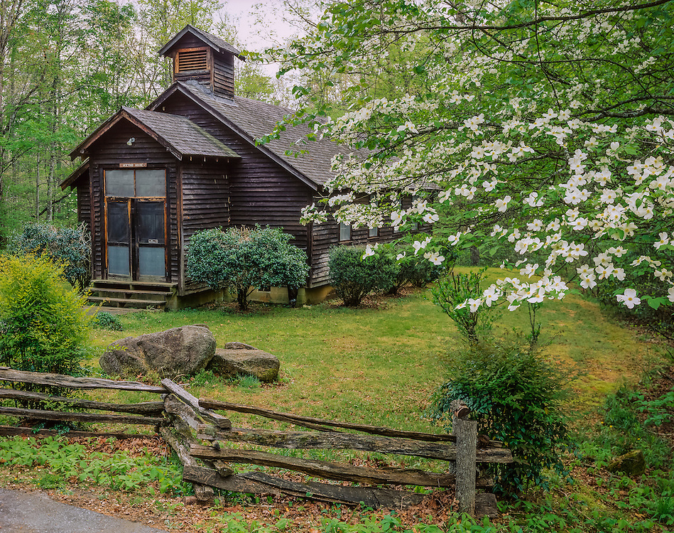 Old Meeting House, dogwood in bloom & split rail fence, spring, Pickens County, SC