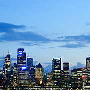 Sydney city skyline at dusk with copyspace