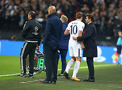 November 1, 2017 - London, England, United Kingdom - L-R Tottenham Hotspur's Harry Kane and Tottenham Hotspur manager Mauricio Pochettino .during ChampionS League Group H match between Tottenham Hotspur against Real Madrid  at Wembley Stadium  London on 1 Nov   2017  (Credit Image: © Kieran Galvin/NurPhoto via ZUMA Press)