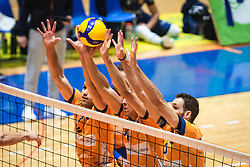 Block by ACH players during 3rd Leg of Volleyball match between ACH Volley and OK Merkur Maribor in Final of 1. DOL League 2020/21, on April 20, 2021 in SD Tabor, Maribor, Slovenia. Photo by Blaž Weindorfer / Sportida