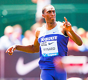 ERIK KYNARD (USA) during Mens High Jump competition during the second day of the Diamond League event Prefontaine Classic held at the University of Oregons Hayward Field.The Prefontaine Classic is named for University of Oregon track legend Steve Prefontaine. Kynard finished second in the event.
