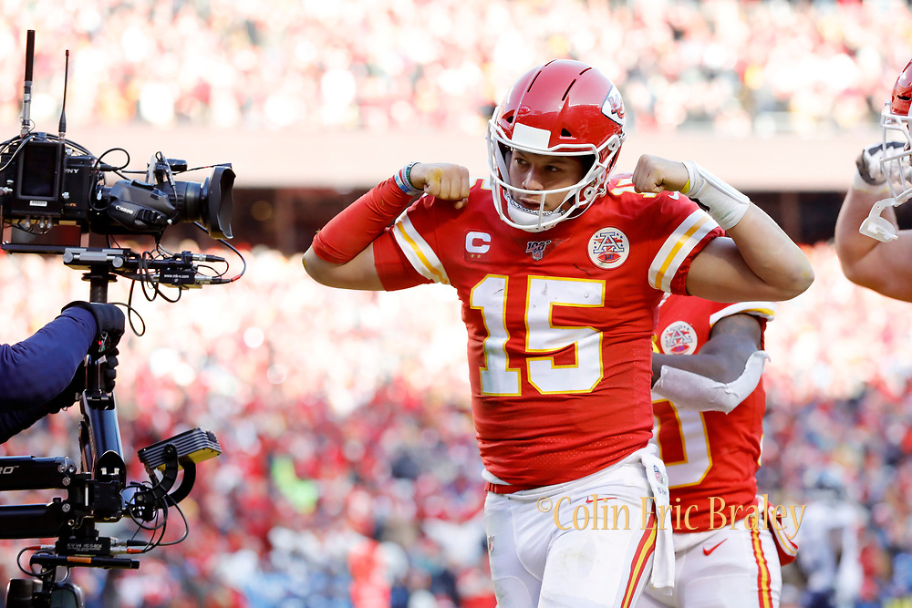 Kansas City Chiefs quarterback Patrick Mahomes reacts after scoring a touchdown during an NFL, AFC Championship football game Sunday, Jan. 19, 2020, in Kansas City, MO. The Chiefs won 35-24 to advance to Super Bowl 54. (AP Photo/Colin E. Braley) Colin Eric Braley Photography