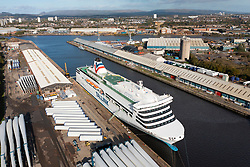 Glasgow, Scotland, UK. 21st October 2021. Due to a severe shortage of accommodation for delegates attending the upcoming UN Climate Change Conference COP26 in Glasgow, two Ro-Ro ferries have arrived on the Clyde to help alleviate the situation. Pic; The Latvian flagged  Romantika is already berthed at George V docks in Glasgow.. Iain Masterton/Alamy Live News.