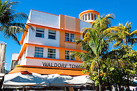 US, Florida, Miami Beach. Art Deco, Waldorf Towers Hotel, Ocean Drive.