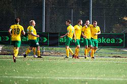 October 6, 2018 - MalmÃ, SVERIGE - 181006 Skabersjös jublar efter mÃ¥l under fotbollsmatchen i Division 5 mellan Limhamn och Skabersjö den 6 oktober 2018 i Malmà (Credit Image: © Emil Langvad/Bildbyran via ZUMA Press)