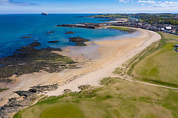 Aerial view of North Berwick West Bay Beach and North Berwick Golf Course, East Lothian, Scotland, UK