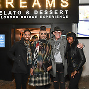 Harmesh Gharu, Jay Kamiraz, David Anthony and  Corene Campbell attend BBC1 All Together Now Series 1 Cast Members, fright night at The London Bridge Experience & London Tombs on 28 October 2018, London, UK.