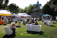 Visitors attending the last day of the Edinburgh International Book Festival enjoying warm weather. The two-and-a-half week  annual event closed on 26th August...
