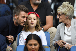 June 27, 2019 - Le Havre, France - David Beckham is seen in the stands with his daughter, Harper, and mother, Sandra Georgina West prior  the 2019 FIFA Women's World Cup France Quarter Final match between Norway and England at  on June 27, 2019 in Le Havre, France. (Credit Image: © Jose Breton/NurPhoto via ZUMA Press)