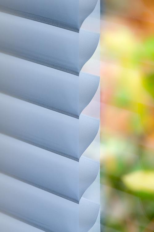 Insulated blinds abstract, garden window, autumn, November, private residence, Tacoma, Washington, USA