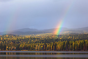 Rainbow over Seeley Lake Montana.