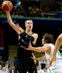 Robin Benzing of Germany vs vs Simas Jasaitis of Lithuania during basketball game between National basketball teams of Lithuania and Germany at FIBA Europe Eurobasket Lithuania 2011, on September 11, 2011, in Siemens Arena,  Vilnius, Lithuania. Lithuania defeaed Germany 84-75. (Photo by Vid Ponikvar / Sportida)