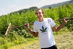 Portrait of Blaz Jarc, former professional rider and now farmer and owner of Konopljarc, on July 14, 2020 in Mirna Pec, Slovenia. Photo by Vid Ponikvar / Sportida